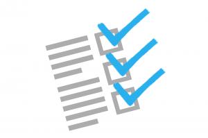 checklist with three blue ticks